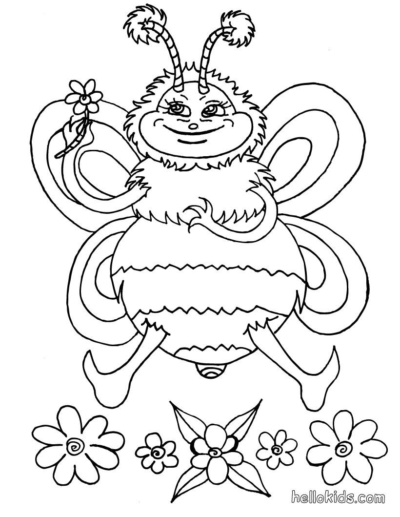 Desenhos para colorir de desenho de uma abelha com uma - Bumble bee pictures a colori ...