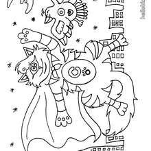 Desenho de um gato monstro para colorir