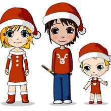 Ana, Teo e Matias prontos para festejar o Natal