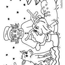 Desenho de Duendes e Renas para colorir