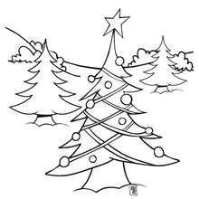 Desenho de uma árvore de Natal decorada na floresta para colorir
