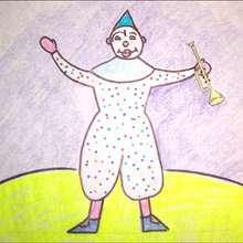 Como desenhar um palhaço com um trompete