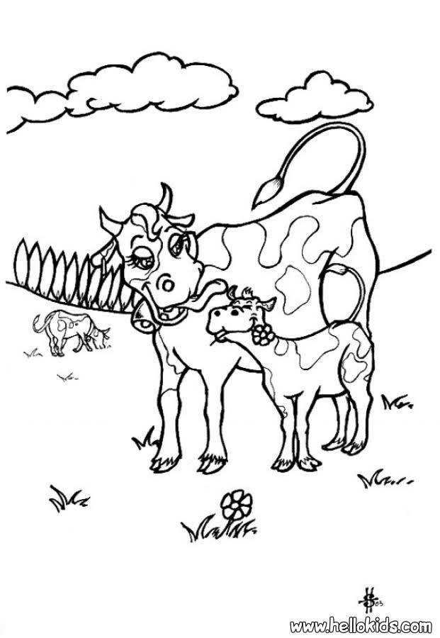 Desenho de uma Vaca com seu bezerro para colorir