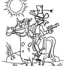 Desenho de um Bandido em seu cavalo para colorir