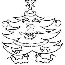 Desenho de uma árvore de Natal com meias para colorir