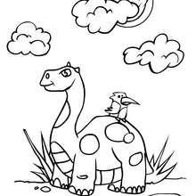 Desenho de um Dinossauro com um pássaro para colorir