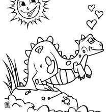 Desenho de um Dinossauro apaixonado para colorir online