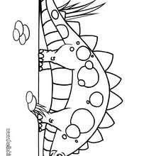 Desenho de um Estegossauro fofo para colorir