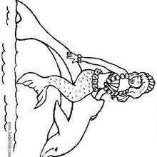 Desenho de um golfinho com uma sereia para colorir