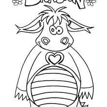 Desenho de um Dragão soridente para colorir