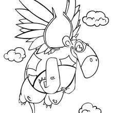 Desenho de um Dinossauro voando para colorir