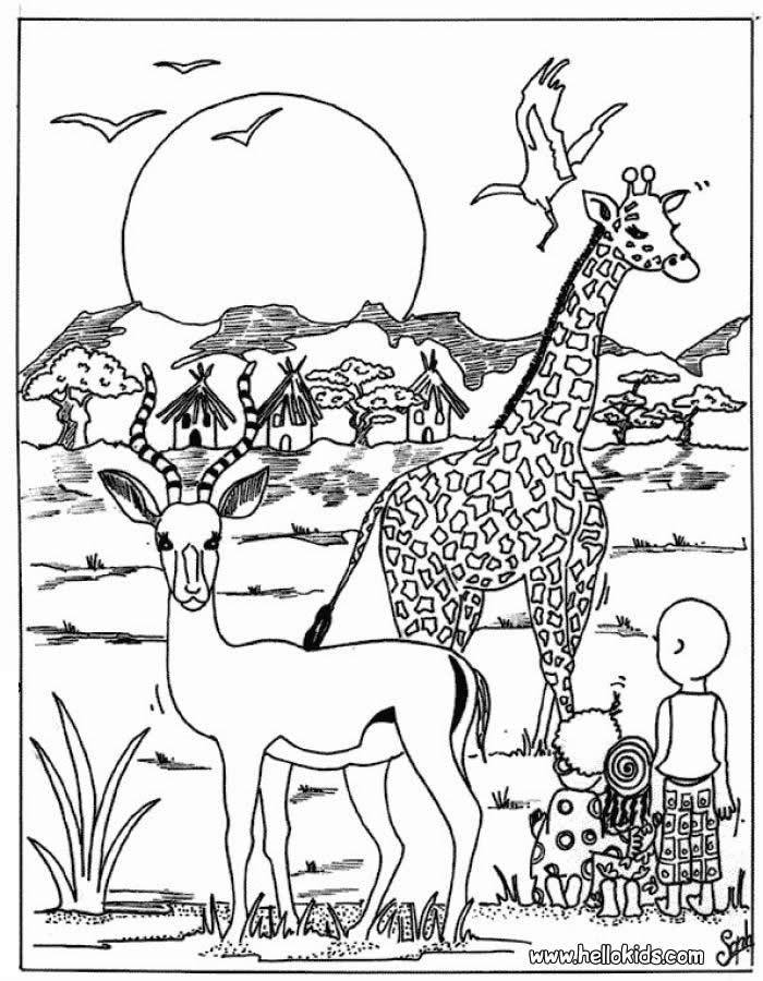 Desenhos Para Colorir De Desenho De Criancas Com Animais Selvagens