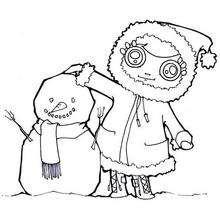 Desenho de uma menina com um boneco de neve para colorir