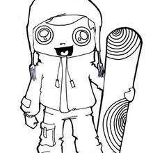 Desenho de uma menina fazendo Snowboard para colorir