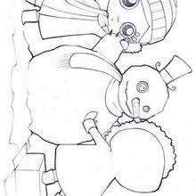 Desenho de meninas fazendo um boneco de neve para colorir