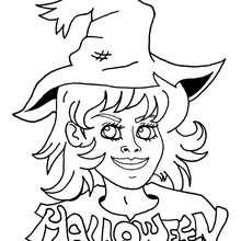 Desenho de uma linda bruxa para colorir