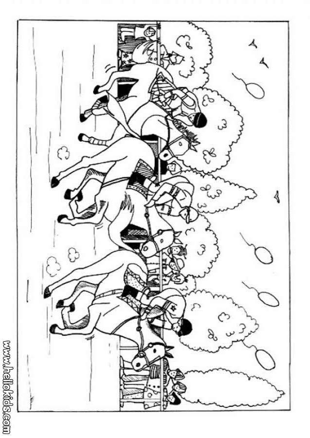 Desenho de uma corrida de Cavalo para colorir