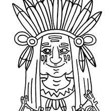 Dia de Ação de Graças, Desenho de um Índio para colorir
