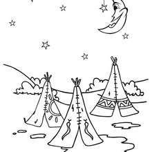 Desenho de uma tribo de noite para colorir
