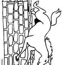 Desenho de um cavalo saltando para colorir
