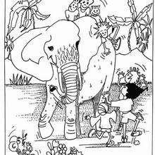 Desenho de um elefante com crianças para colorir