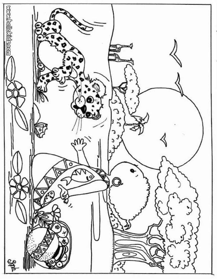 Desenhos Para Colorir De Desenho De Um Leopardo Com Uma Crianca