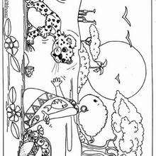 Desenho de um leopardo com uma criança para colorir