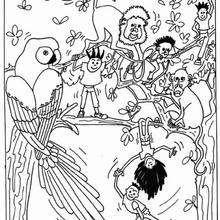 Desenho de crianças com animais selvagens para colorir