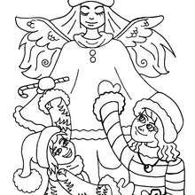 Desenho de um anjo com crianças para colorir