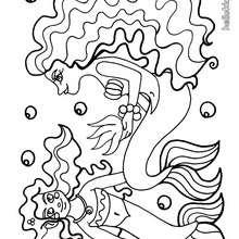 Desenho de uma linda sereia para colorir