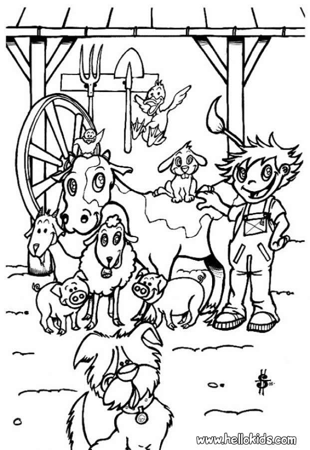 Desenhos Para Colorir De Desenho De Um Fazendeiro Com Seus Animais