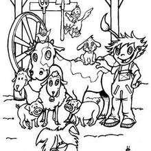 Desenho de um fazendeiro com seus animais para colorir