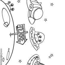 Desenho de extra-terrestres no espaço para colorir