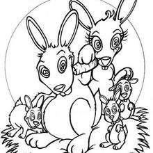 A Família de coelhos para colorir