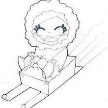 Desenho de uma menina em um em trenó para colorir