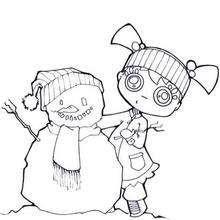 Desenho de uma menina montando boneco de neve para colorir