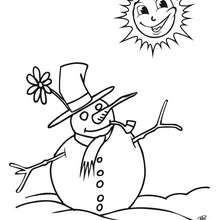 Desenho de um boneco de neve tomando Sol para colorir