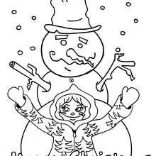 Desenho de um boneco de neve com uma criança para colorir
