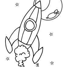 Desenho de um foguete no espaço para colorir