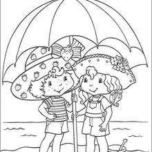 Desenho da Moranguinho com a Uvinha para colorir