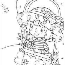 Desenho do Moranguinho olhando pela janela para colorir