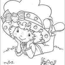 Desenho da Moranguinho com uma joaninha para colorir