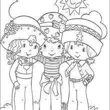 Desenho do Moranguinho, Uvinha e Biscoitinho para colorir