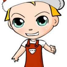 Teo vestindo uma roupa de Papai Noel