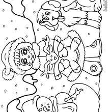 Desenho de uma menina com seu cachorro e seu boneco de neve para colorir