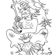Desenho da Bruxa malvada com sua vassoura  para colorir