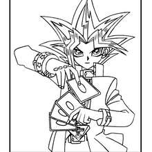 Desenho do Yugi Muto jogando cartas para colorir