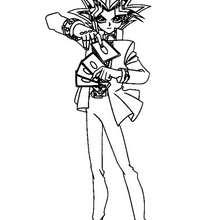 Desenho do Yugi jogando para colorir