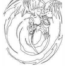 Desenho do Dragão de asas para colorir