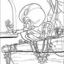 Desenho do Abu com o tesouro para colorir